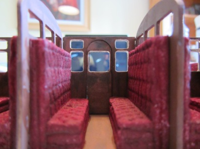 I used watercolour rather than acrylic for the seats as it has a matt finish and sinks into the surface of the foam