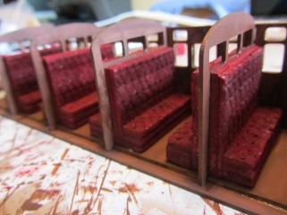 I built up the colour on the foam to make the seats look dusty and weathered