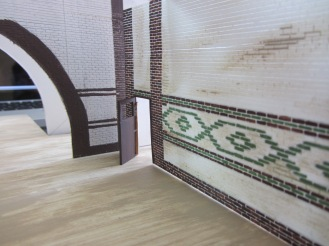 """The tiles were scored and painted accurately in a 1:50 scale of the distinctive 9""""x 3"""" underground tiles"""